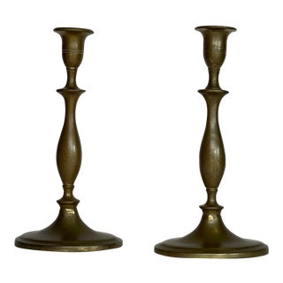 Late 19th Century Brass Oval Base Candlesticks - a Pair For Sale