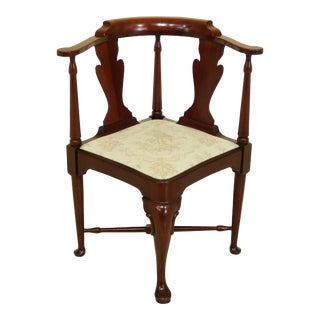 Hickory Chair Co Queen Anne Mahogany Corner Chair For Sale