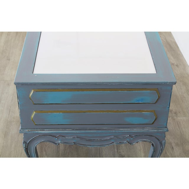 White Mid-Century French Provincial Nightstands, a Pair - Vintage Nightstands - Gray Nightstands - Shabby Chic Nightstand - Blue Nightstans For Sale - Image 8 of 9