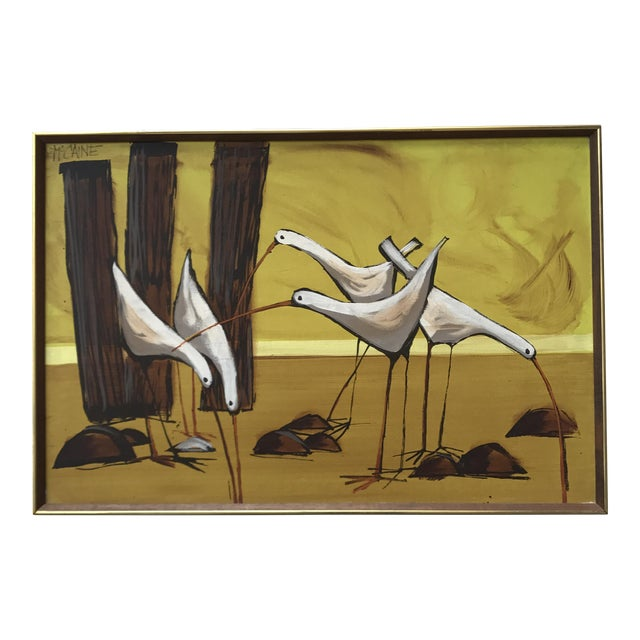 Mid-Century Painting of Seagulls by McCaine For Sale