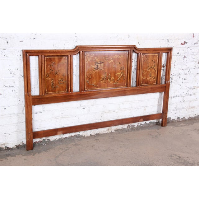 An exceptional Hollywood Regency Chinoiserie king size headboard from the Dynasty Collection by Drexel Heritage. The...