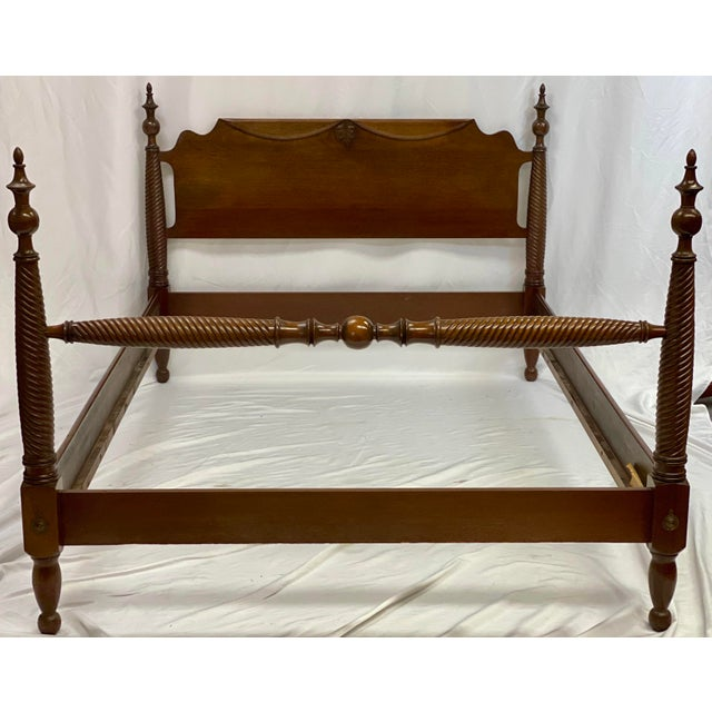 Mid 20th Century Mahogany Statton Trutype Full Four Poster Bedframe For Sale - Image 12 of 12