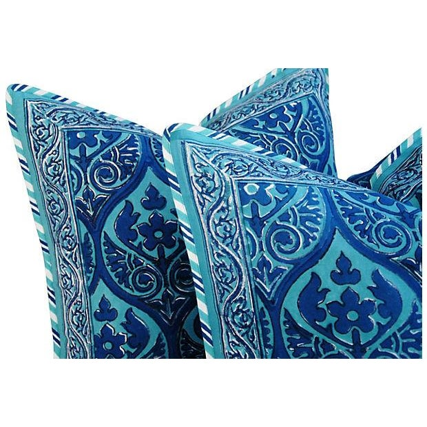 Custom Blue Hand-Blocked & Printed Pillows - Pair - Image 5 of 6