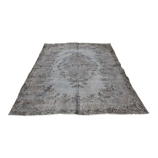 Turkish Handmade Gray Wool Area Rug - 6'x10' For Sale