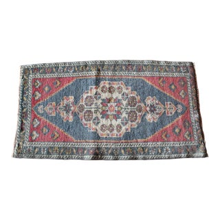 Early 20th Century Vintage Small Turkish Wool Rug - 1′10″ × 3′5″