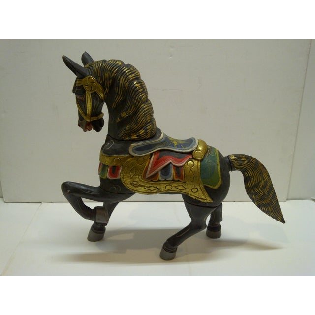 Decorative Hand Carved Wooden Horse - Image 3 of 5