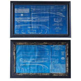 Pair of Nautical Blueprints of Vintage Boats For Sale