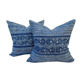 Sky Blue Batik Pillows - A Pair