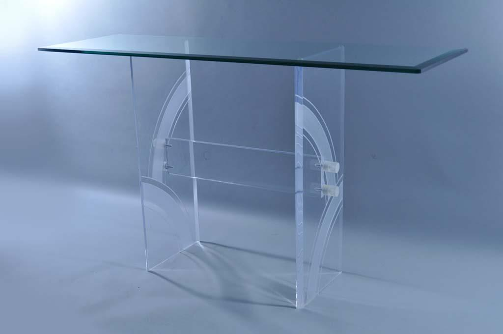 Item: Vintage Mid Century Modern Clear Etched Lucite U0026 Beveled Glass Top Console  Table.