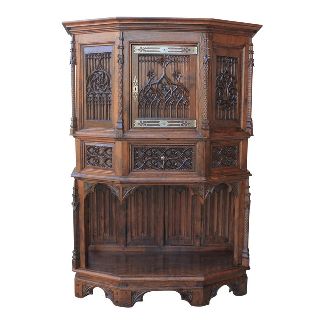 Antique French Gothic Vestry Sacristy Cabinet Oak 19th Century For Sale