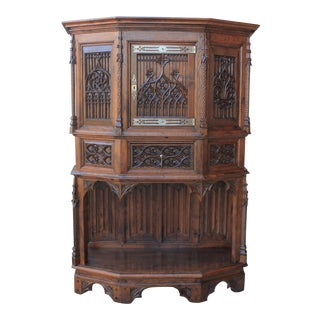 Late 19th Century Antique French Gothic Display Cabinet For Sale