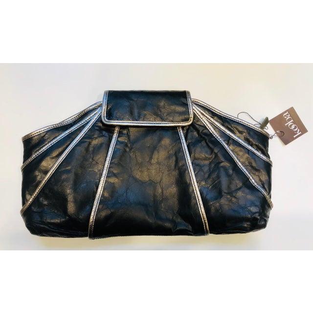 Black 1980s Style -- New Kooba Oversized Black Leather Clutch For Sale - Image 8 of 8