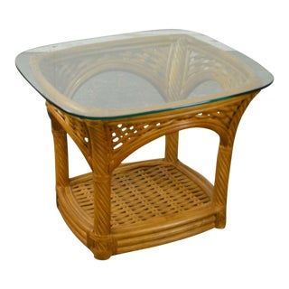 Crate & Barrel Glass Top Rattan Side Table For Sale