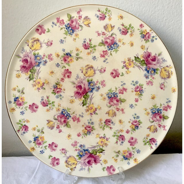 Vintage English Chintz Creamware Serving Plate For Sale In New York - Image 6 of 6