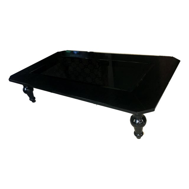 Transitional A&x Manor Black Crocodile Lacquer Glass Coffee Table For Sale In Miami - Image 6 of 10