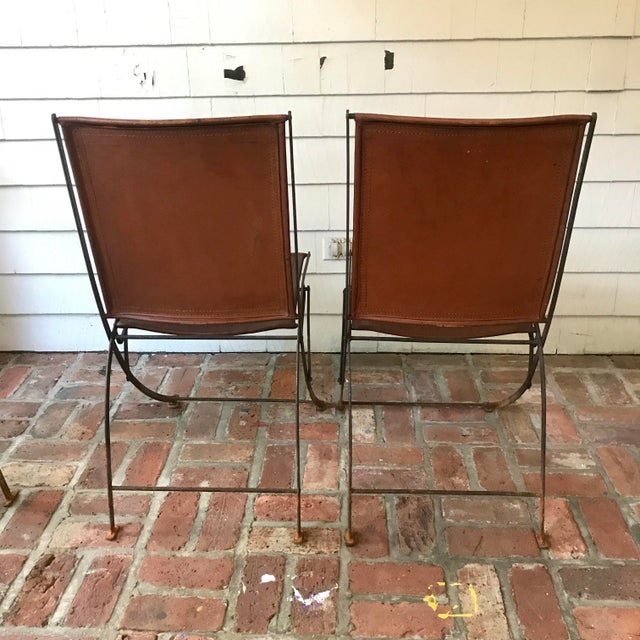 Leather & Iron Folding Chairs - Set of 4 For Sale - Image 4 of 5