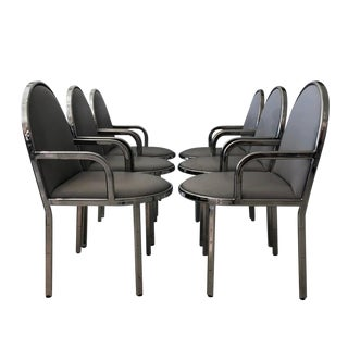 Set of 6 Rougier Chrome Dining Chairs For Sale