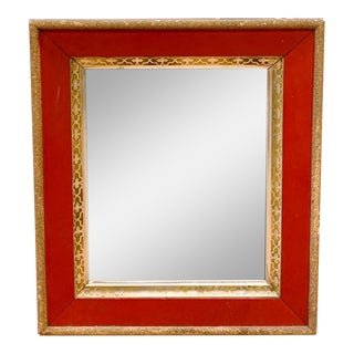 Old Mirror, Red and Gilt Wood Frame For Sale