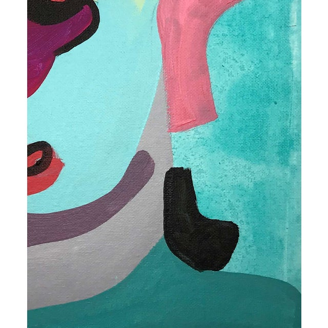 """Abstract Contemporary Abstract Portrait Painting """"Kooky Awesome, No. 2"""" For Sale - Image 3 of 7"""