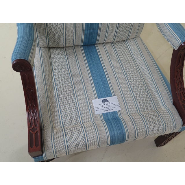 Modern Kindel Chippendale Mahogany Upholstered Chairs- A Pair For Sale - Image 11 of 13