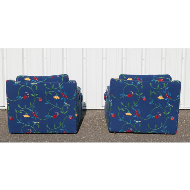 Late 20th Century Crewel Embroidered Floral Strawberry Club Chairs - a Pair For Sale - Image 5 of 11