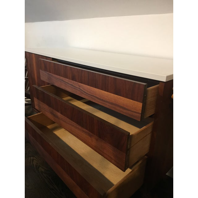 Mid-Century Modern White Top Walnut Credenza For Sale - Image 5 of 6