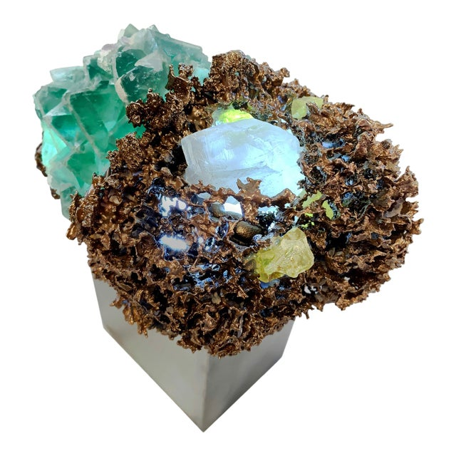 "Light Sculpture: Sea Sponge Series ""Anemone"" Lamp, Gems, Bronze For Sale"