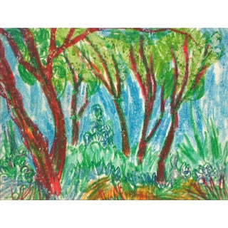 Gary Lee Shaffer Colorful Trees in a Forest Grove, Expressionist Oil Pastel Drawing, Circa 1960 Circa 1960 For Sale