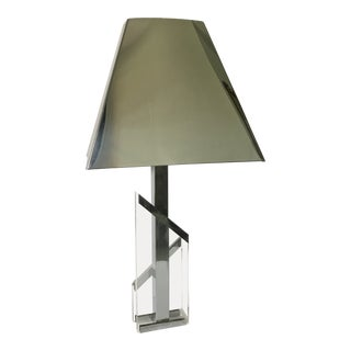 Mid Century Chrome and Lucite Lamp With Chrome Shade