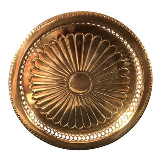 Vintage Brass Sunburst Tray With Pierced Sides