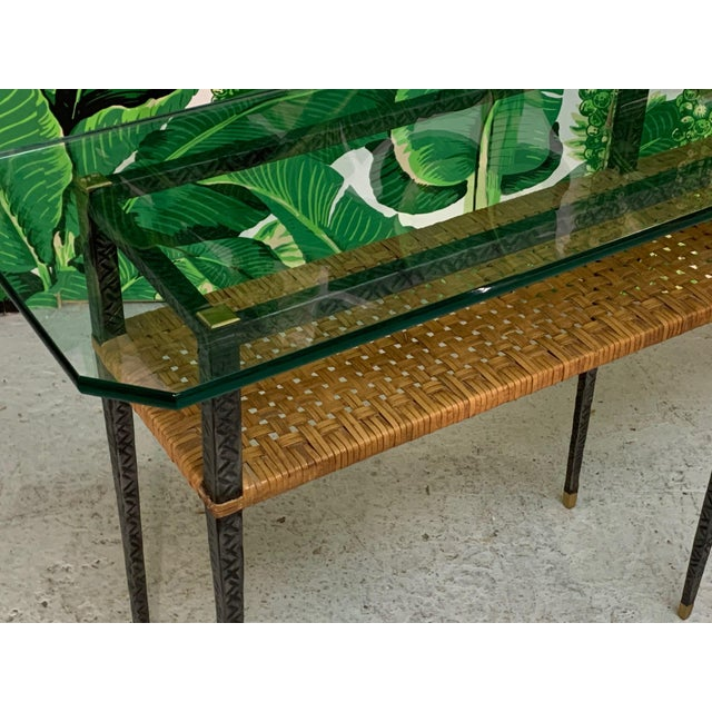 Steel and Rattan Console Table For Sale - Image 9 of 11