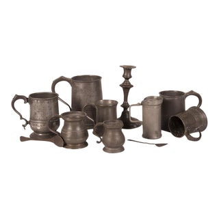 English Pewter Pieces with Maker Stamps Circa 1850 - Set of 11 For Sale