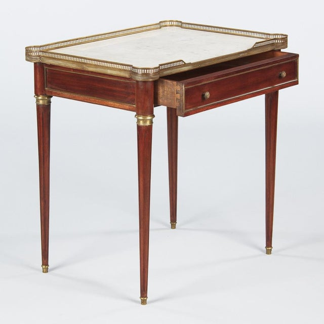 Louis XVI Style Marble-Top Rosewood Side/Serving Table, 1900s - Image 9 of 10