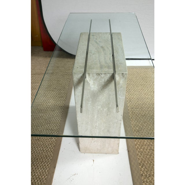 Travertine and Chrome Console Table by Ello - Image 7 of 9