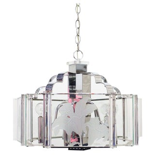 Deco Style Chrome and Glass Chandelier by Fredrick Raymond For Sale
