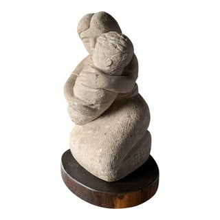 R Licea Cast Cement Sculpture - Mother and Child For Sale