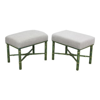 Pair of Mid-Century Faux Bamboo Benches With Chenille Cushions For Sale