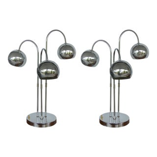 Robert Sonneman Style Chrome Sphere Lamps- a Pair For Sale