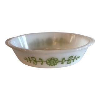 Mid-Century Green Flower Design Serving Dish