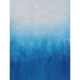 Large Abstract Modern Contemporary Original Blue White Copper Watershed Painting