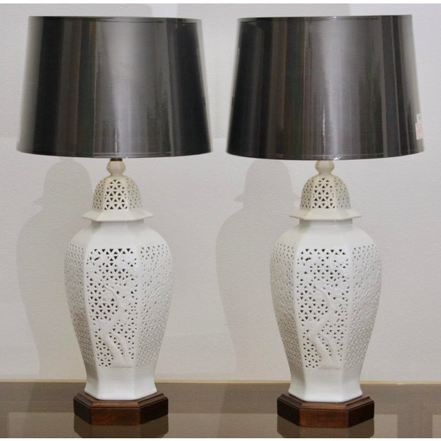 Frederick Cooper Frederick Copper Blanc De Chine Pierced Chinoiserie Lamps - A Pair For Sale - Image 4 of 11