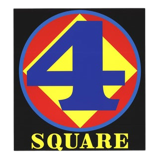 1997 Robert Indiana 'Polygon: Square (Number Four)' Pop Art Blue,Yellow,Red,Black Usa Serigraph For Sale