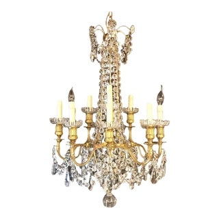 Signed Louis XVI French 12-Arm Baccarat Gilt Bronze and Crystal Chandelier For Sale