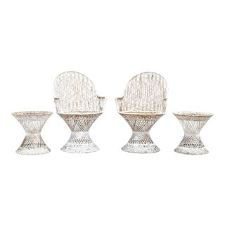 Woodard Spun Fiberglass Armchairs and Side Tables - Set of 4 For Sale