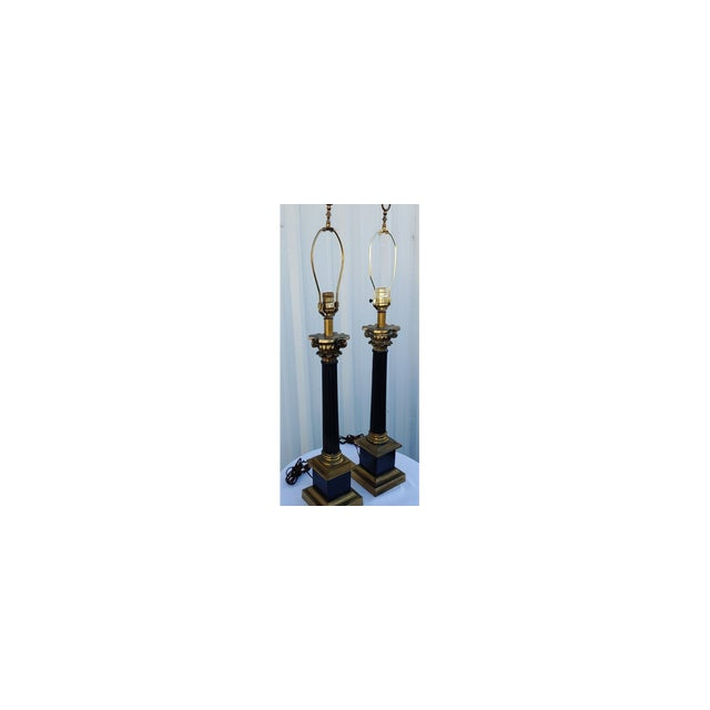 Metal Mid Century Modern Black and Gold Metal Lamps - a Pair For Sale - Image 7 of 8
