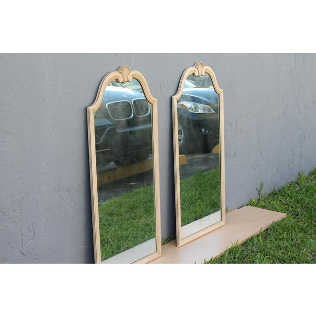 Traditional Off White Carved Wall Mirrors - A Pair - Image 6 of 9