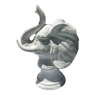 Boho Chic Ceramic White Elephant Statue For Sale