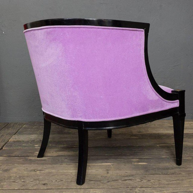 Pair of American Mid-century Modern Rounded Back Armchairs in Purple Velvet For Sale - Image 5 of 11