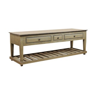 Painted Wood Kitchen Island Table With Storage For Sale