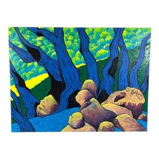2005 Oil on Canvas Mount Tamalpais California Landscape Signed Jgc For Sale
